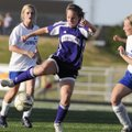 Fayetteville's Casey O'Brien pushes the ball as Bryant's Katie Moore, left, and Lauren Reed, right, ...