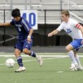 Springdale Har-Ber's Mauricio Salas defends the ball against Conway's John Allison, right, in the fi...