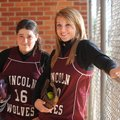 Lincoln senior catcher Laura Crooks, left, and senior pitcher Tonya Villines are four-year starters...