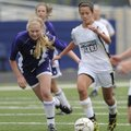 Bentonville's Tayler Estrada, right, pushes the ball past Mount St. Mary's Sara Udron during a Clas...