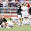 Bentonville players react after the Lady Tigers' loss to Fayetteville in the Class 7A State Champio...