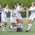 Bentonville senior Hannah Nilsson, center, is congratulated after scoring a second-half goal during...