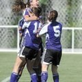 Fayetteville sophomore Melanie Lee, top, celebrates a first-half goal during Saturday's game.