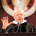Don Tyson, former CEO of Tyson Foods Inc., speaks during commencement exercises for the University ...
