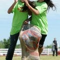 Elmdale Elementary School fifth-graders Zuzuki Monarez, 11, left, and Betsey River, 12, compete in ...