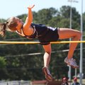 Springdale Har-Ber's Kirstie Hesseltine clears 5 feet, 7 inches to win the girls high jump Saturday ...