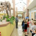 Bentonville Public Library Children's Librarian Sue Ann Pekel, left, talks about Rexy, the library's...
