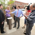 West Doss, attorney for Billy Wolfe, speaks to members of the media following the announcement of th...