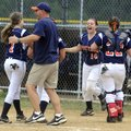 The Rogers Heritage Lady War Eagles celebrate the final out of their 4-3 victory Tuesday over agains...
