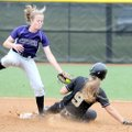 Fayetteville's Sara Wilson can't make the tag in time as Bentonville's Alex Sullivan slides into sec...
