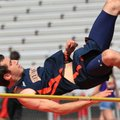 Rogers Heritage's Sam Mayhall competes in the high jump Wednesday during the Arkansas High School De...