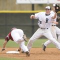 Bentonville's Dallas Hardison catches the ball as Springdale High's Dakota Watson steals second bas...