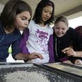Fourth-graders Emma Johnson, 9, left, Alice Wang, 10, Michelle Shaw, 10, and Makaylee Campbell, 10,...