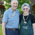 Botanical Garden of the Ozarks volunteers Paige and Mary Bess Mulhollan welcome visitors to the 15th...