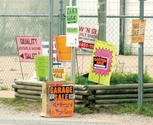 Garage sale signs can be seen posted all over Pea Ridge as the springtime weather continues to get warmer.
