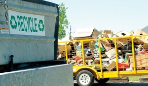 Trailers for recyclable items are located behind the Emergency Services Building, next to the water tower in Pea Ridge on the southwest side of the four-way stop at Slack Street, Lee Town and South Curtis Avenue.