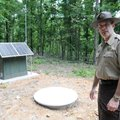 Mark Clippinger, park superintendent at Hobbs State Park-Conservation Area, shows the seismic monito...