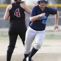 Springdale Har-Ber's Brittany Rodgers rounds second base on a triple as Springdale High's Hannah Nea...