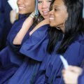 Har-Ber High School seniors, from right, Melanie Monts, Heather Moore and Azael Molina laugh Saturda...