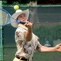 Benji Justice of Mountain Home returns a shot in the Raymond James Adult Tennis Tournament on May 16...