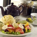 The chicken salad fruit plate, with poppy seed dressing and an orange roll, is a favorite at The Cr...