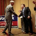 Rogers Mayor Steve Womack (left) shakes hands with former 3rd District congressional Republican cha...