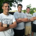 Recent Bentonville High School graduates Adam Irons, from left, Jonathan Mortensen, Ben Nichols and ...