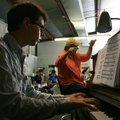 "Justin Snyder from the University of Michigan (piano) and artistic director Roger Cantrell work on ""..."