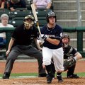 Northwest Arkansas' Mike Moustakas watches his second home run of the game against Corpus Christi le...