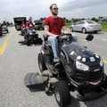 Lucas Van Engen of Queens, N.Y., drives his Craftsman 54-inch Kohler Courage riding lawn mower Wedne...