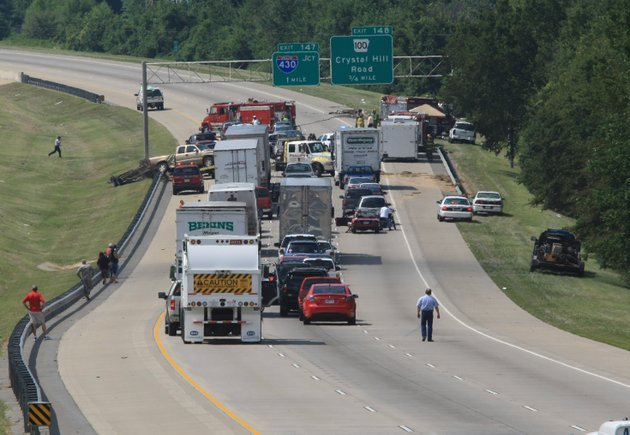 traffic-comes-to-a-stop-on-interstate-40-westbound-after-an-accident-led-to-a-tanker-truck-overturning-monday-afternoon