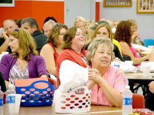 Teachers, office staff and administrators were treated to a teacher fair Friday by Arvest Bank, Pea Ridge.