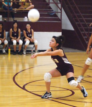 Gentry junior Sarah Tisdale receives a serve during Monday's match with Southwest City, Mo.