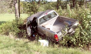 A three-year-old child was injured when the pickup truck her mother was driving left the roadway on Thursday.