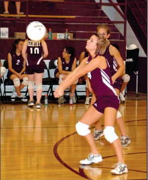 Gentry senior Jessica VanHook receives a serve and sets it up in play earlier in the season.