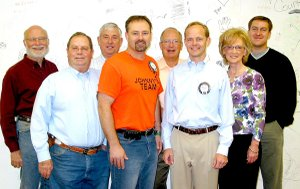 Officers for the Gravette Kiwanis Club for the 2010-2011 year were installed in a ceremony held the evening of Sept. 30. From the left, Dan Yates, secretary; Rickie Stark, director; Robert Kelley, director; Zane Vanderpool, director; Malcolm Winters, treasurer; Bryan Johnson, president; Dr. Andrea Kelley, president-elect; and Jake Haak, director.