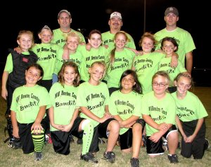 Pictured are Bailey Elmore (front, left), Mel Owens, Brittany Brewer, Abby Olvera, Hannah Cole, Lainey Bunch; second row, McKayla Hendricks, Jessica Bookout, Hannah Frakes, Lindsey Sharp, Brianna Osborn, Lexus Allen, Cally Kildow; and coaches Mike Bunch, Steve Glass and Tony Kildow.