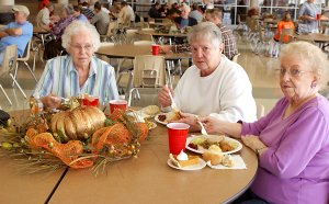 Community members enjoyed a full Thanksgiving meal Saturday at the Gravette High School cafeteria.