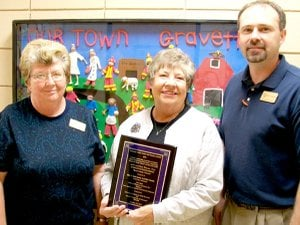 Center Director Mary Kay Kelley, center, with Margaret Martin and Zane Vanderpool.