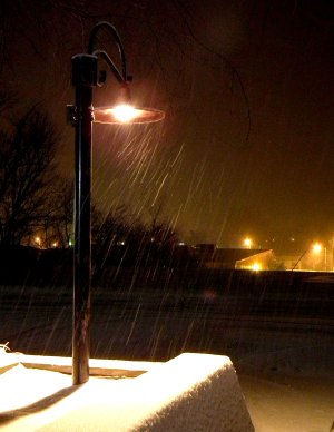 Snow fell in Decatur and the surrounding area on Monday night. Snow flakes were illumined by a new street light at Decatur's city hall.