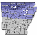 This map from the National Weather Service shows projected snowfall totals for Thursday's anticipate...