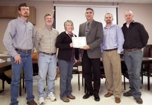 Superintendent Larry Ben presented Decatur School Board members with certificates of appreciation at Monday night's meeting for their service to the students of the community. January is school board appreciation month. Pictured are school board members Aaron Owens, Ike Owens, Darleen Holly, superintendent Larry Ben, Justin Thompson and Kevin Smith.