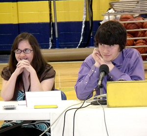 Senior Jessica Varner and junior Sayer Smith answer a question for the Gravette Academic Challenge in Education team during the match last Wednesday.