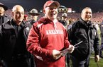 Arkansas Coach Bobby Petrino, shown after the Razorbacks beat LSU in November, was one of three SEC coaches featured by the Wall Street Journal in a study of oversigning in college football.