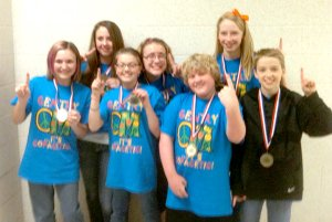 Division II Odyssey of the Mind team members are Kenadi Thrailkill, Lexie West, Konner Hodges, Colton Little, Avarie Coones, Sydney Hodges and Lauren Little. Coaches are Dorothy Ivey and Emily Hodges.