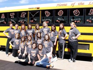 "The sign on the bus, ""State Bound"" tells the story for Gravette's Lady Lions as they prepared to make the bus trip to Heber Springs after earning their first trip to state in ten years. Front row, from the left, Amanda White, Samantha Vanotterloo; second row, Shayenne Nichols, Jacqueline Kappel, Whitney DeWitt, Monica White and Jessica Bayley; back row, Destaney Wishon, Jacquelynn Janes, Kendra Meeker, Takara Waldrip, Shelby Newell, Kaitlyn Britton, Kayla Harrelson, Vanessa Moore and Brenna Sullivan."