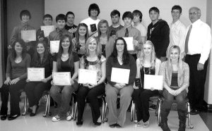 Members of the Gravette FBLA (Future Business Leaders of America) Club who attended a spring leadership conference in Fort Smith were, front row, l to r, Samantha VanOtterloo, Jenna Brown, Christina Lovell, Kaitlynn Britton, Jessica Price, Amy Riles, Hailey Morrison; middle row, Noah Smith, Whitney DeWitt, Haley House, Carson Alsup; back row, Sayer Smith, Seth Rutherford, Cody Bullock, Cody Montee, Trey Tyner, Ricky Wolfinbarger, Joel Coy, Alex Lovell and Harry Almond, advisor.