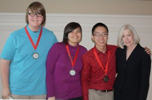 GHS Culinary Arts students, who placed second in state competition recently at Little Rock, are: Jacob Scott (left), Megan Galvan and Victor Vang, with Arkansas First Lady Ginger Beebe.