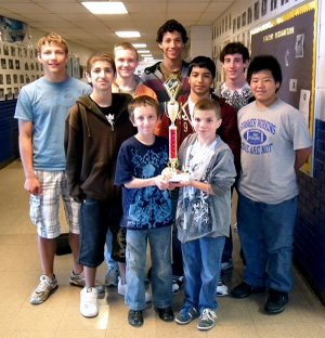 The Decatur Junior High Track Team won second place overall in the Eureka Springs Highlander Relay Cornerstone Bank Classic. Team members, from left, are Victor Urquidi, Eddie Lucio, Kile Shaffer, Justin Smith, Mario Urquidi, Alan Castaneda, Matt Lydon, Trey Kell, Matt Lee and Steven Buckmaster (not pictured).