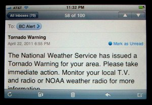 The Benton County Alert System sends text messages and e-mail messages like the one above to warn residents in the event of an emergency.